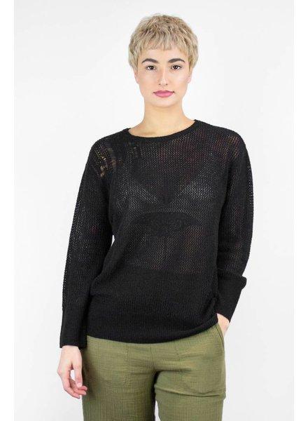 Raquel Allegra Wool & Cashmere Mesh Crew Pullover Black