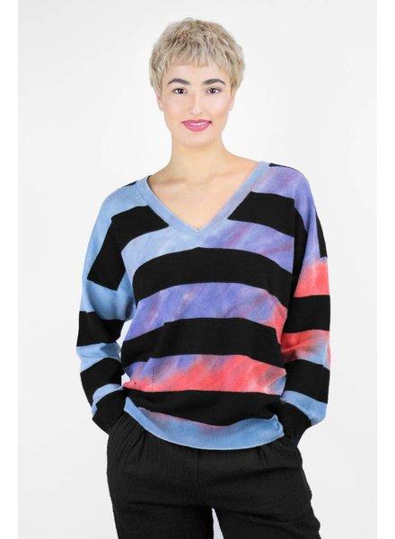 Raquel Allegra Stripe Tie Dye Boyfriend V-Neck Blue Sapphire
