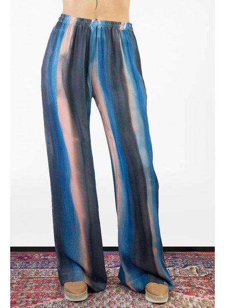 Raquel Allegra Painted Stripe Silk Shirred Pant Black Rose