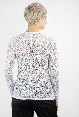 Raquel Allegra Summer Lace Bias Long Sleeve Tee Ivory