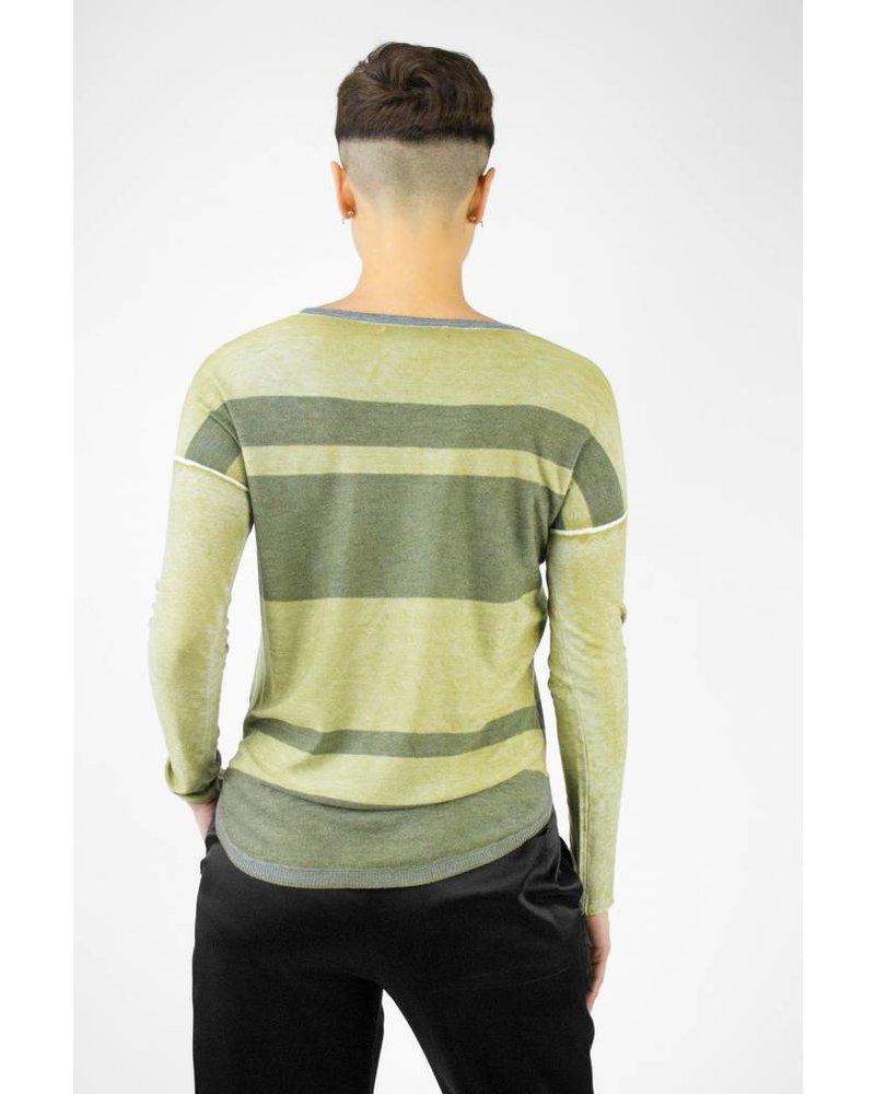 Kokun Overdyed Stripe Scoop-neck Kelp Grey