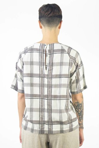 Pomandere Printed Roll Sleeve Tee Plaid