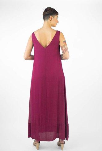 Pomandere V Neck Tank Dress Berry