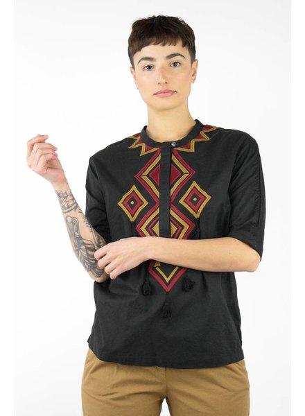 Pomandere Cotton Short Sleeve Button Tunic Black