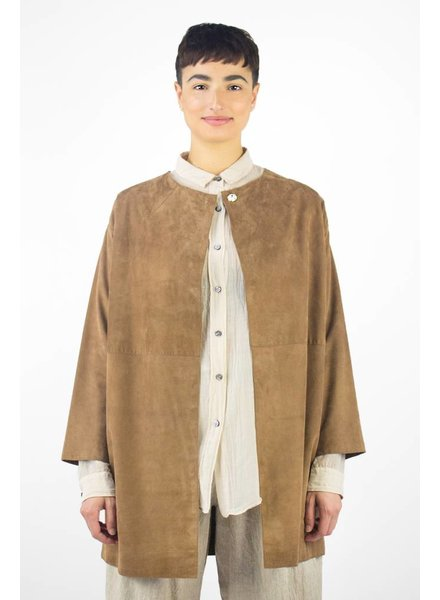 Pomandere Long Suede Coat Taupe