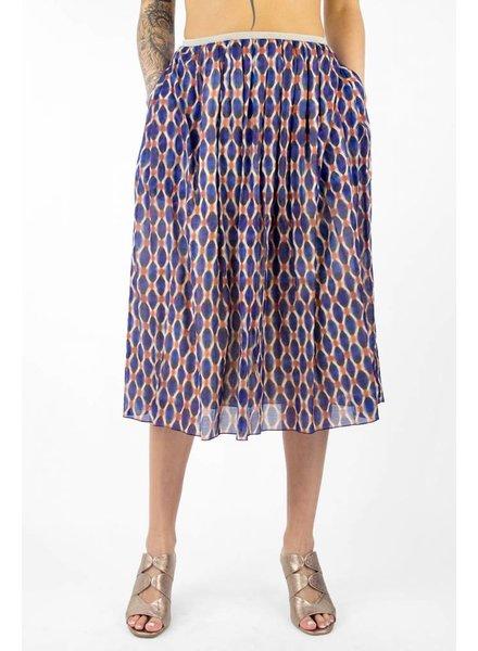 Pomandere Printed Midi Skirt Cobalt