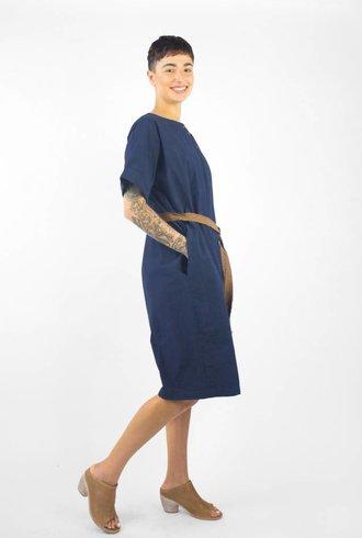 Pomandere Short Sleeve Tie Dress Navy
