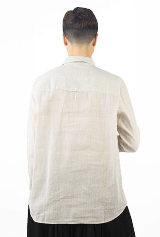 Pomandere Classic Button Down Shirt Natural Stripe