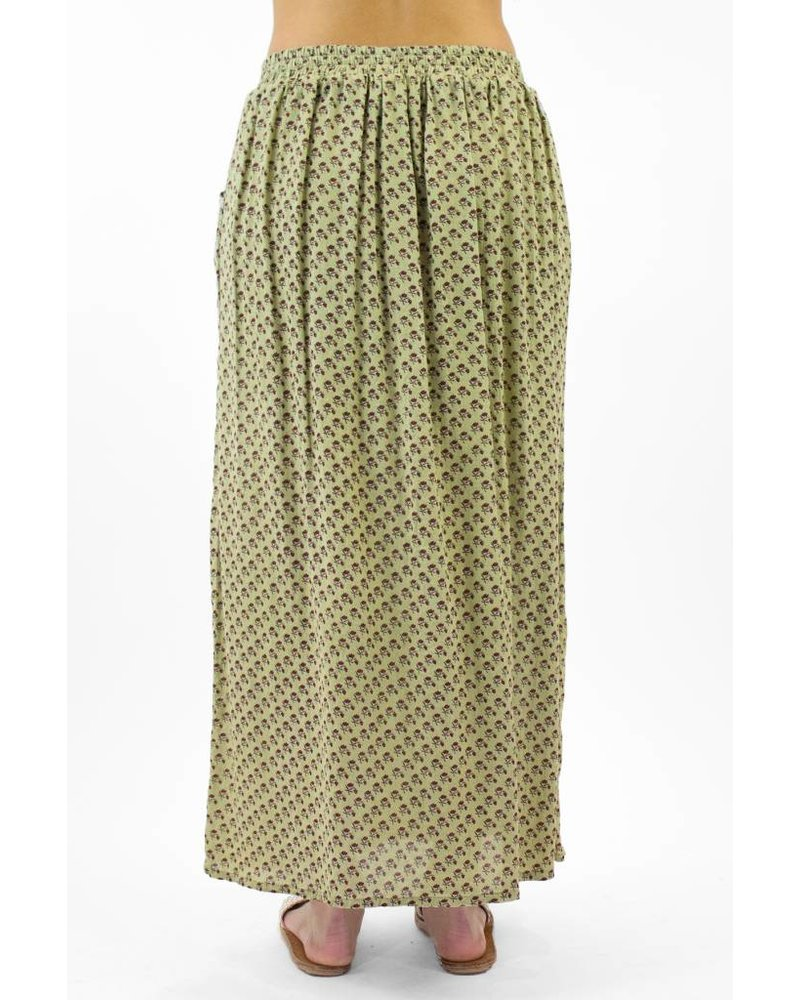 Local Evita Diagonal Cotton Midi Skirt Multi Floral