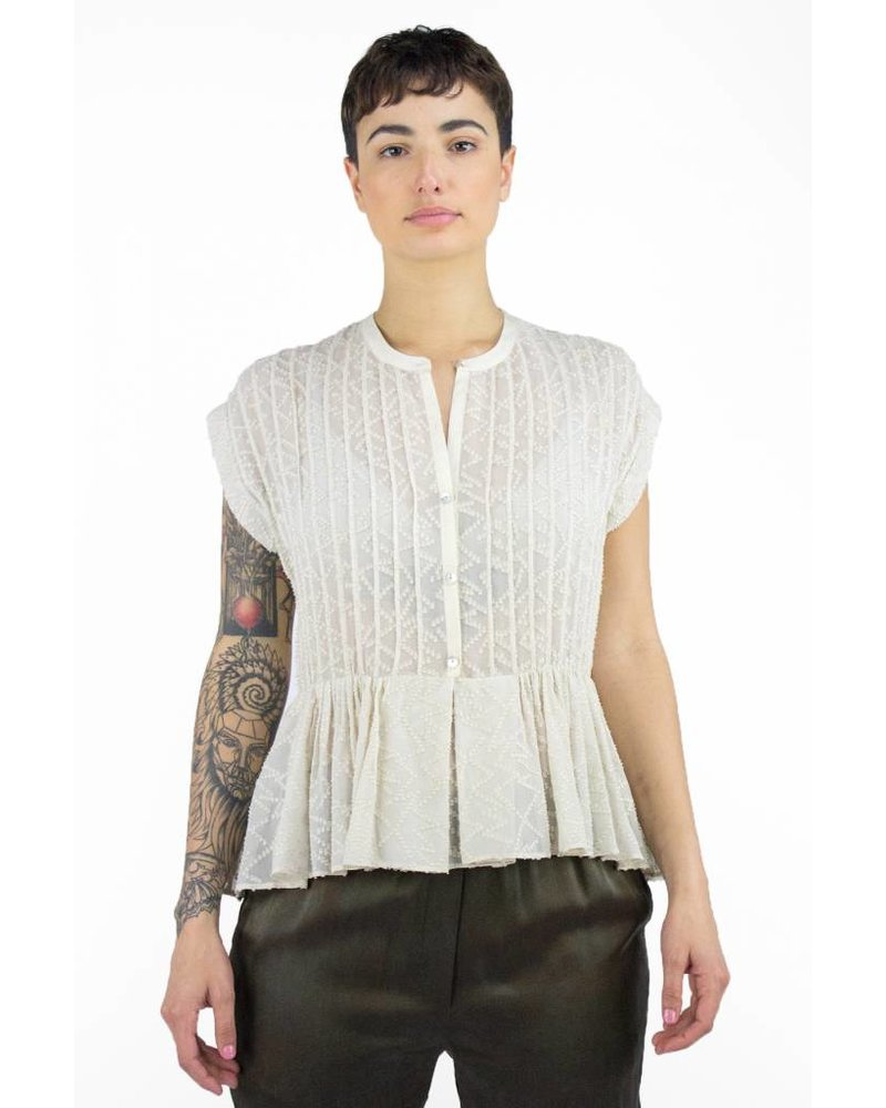 Burning Torch Shadow Silk Pleated Blouse Ivory