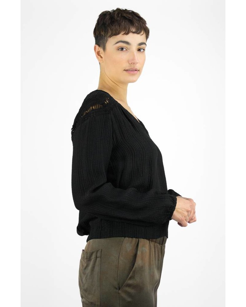 Burning Torch Selfoss Textured Silk Blouse