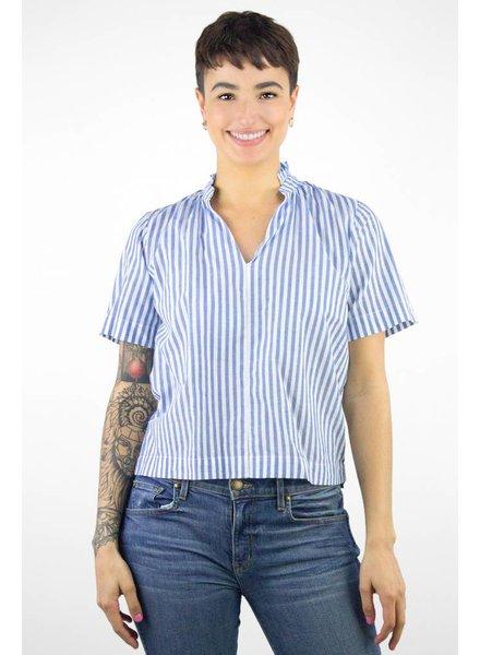 Trovata Nikki Gathered Blouse Blue & White Stripe