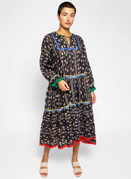 Warm Cowerie Dress Block Stripe Gauze