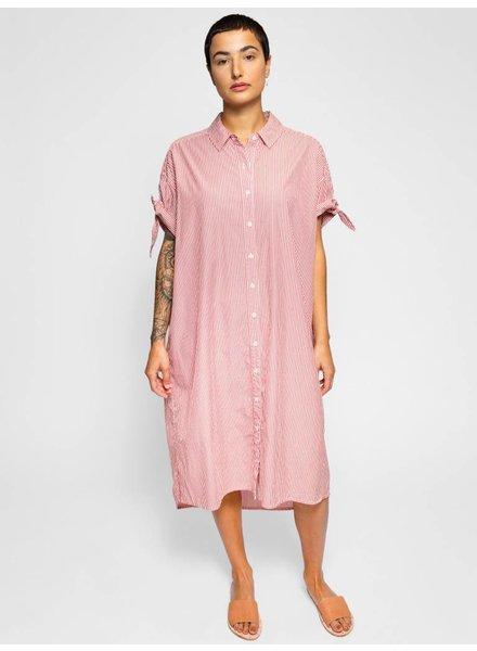 The Great The Tie Sleeve Camper Shirt Dress Poppy Stripe