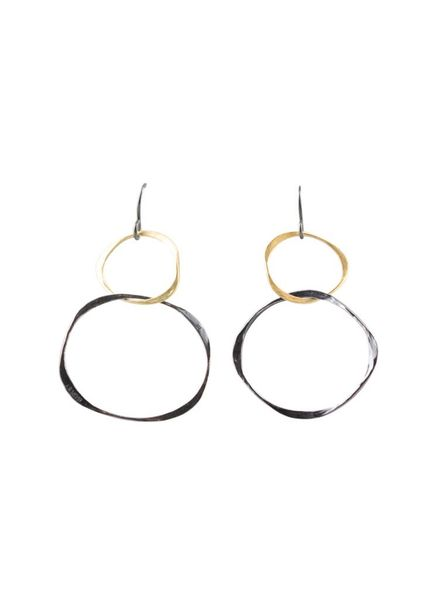 Renee Garvey Gold & Oxidized Hammered Hoop Earrings