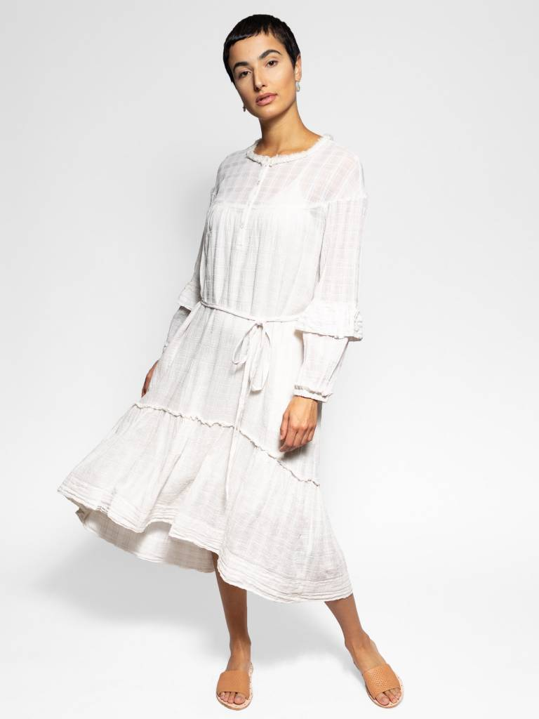 Raquel Allegra Victorian Ruffle Dress Dirty White