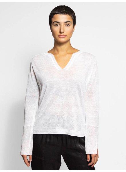 Inhabit Linen Serafino Pullover White