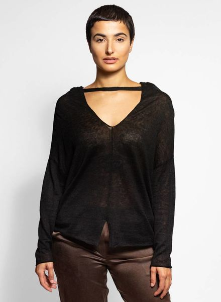 Inhabit Multi-way Drape Pullover Black