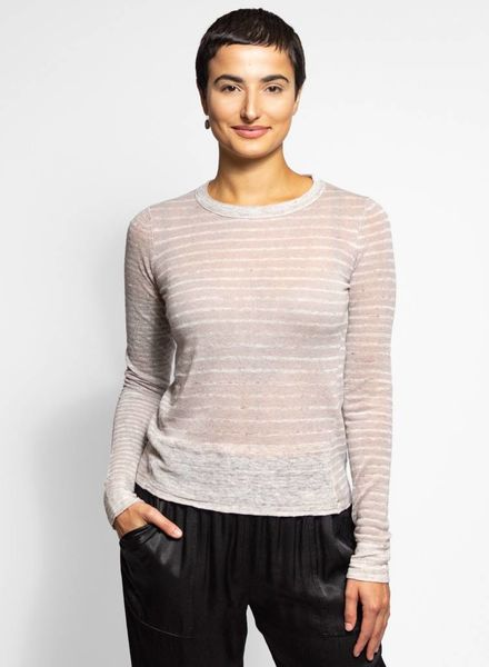 Inhabit Cashmere Linen Sailor Crew Pebble