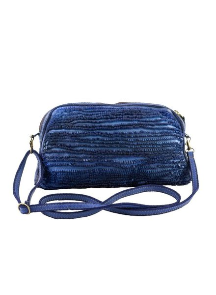 Majo Small Leather Bag Blue Raw