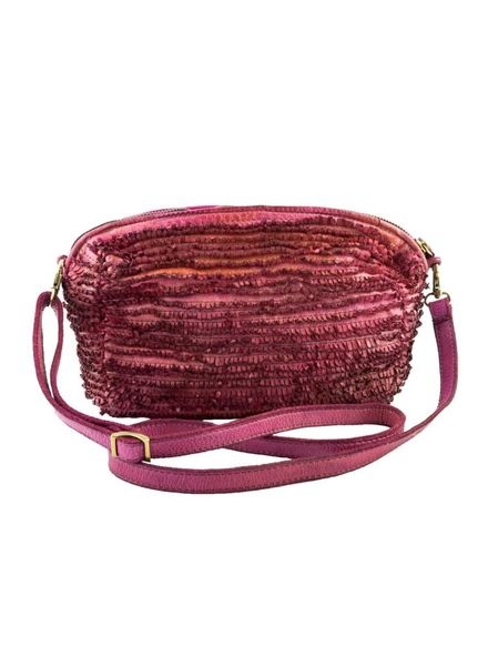 Majo Small Leather Fringe Bag Azalea