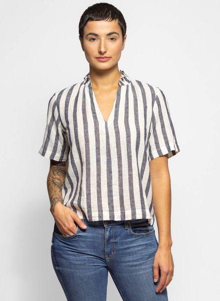 Trovata Nikki Gathered Shirt Black & White Stripe