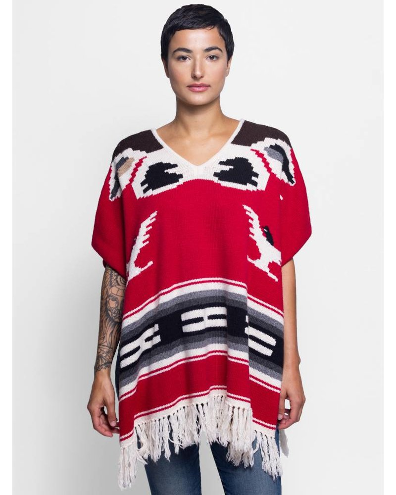 NSF Eagle Eye Knit Poncho Red Bird