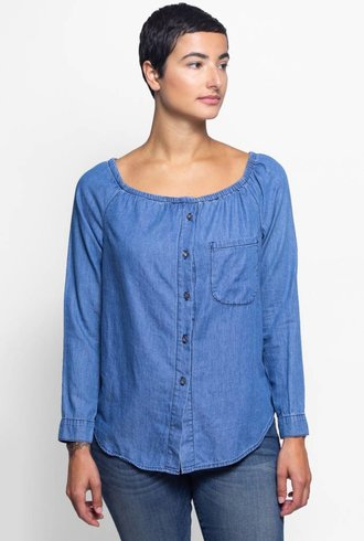 NSF Babette Denim Blouse Trueblue