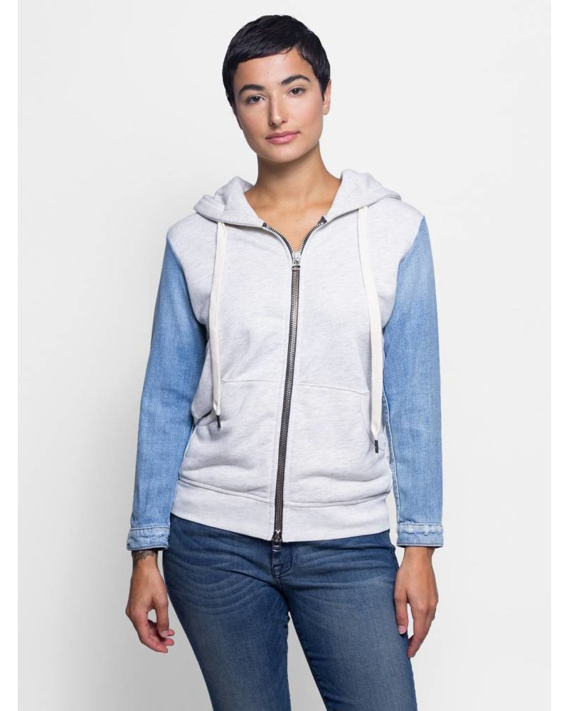 NSF Gretchen Zip Up Hoodie Sweater Light Heather