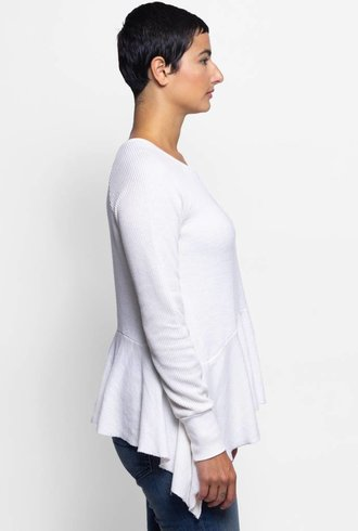 NSF Gemma Pullover Sweatshirt Peplum Bottom Soft White