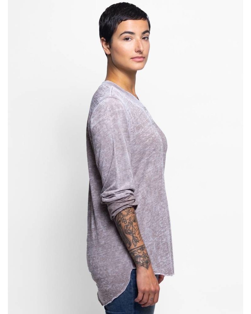 NSF Hal Long Sleeve Burnout Henley Taupe