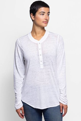 NSF Hal Long Sleeve Burnout Henley White