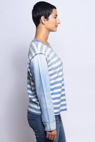 NSF Rocco Stripe Denim Sleeve Tee Sky Fade