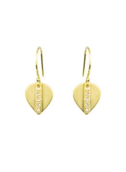 Sarah McGuire Small Mod Pave Leaf Earrings
