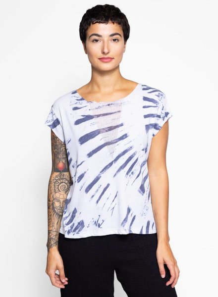 Raquel Allegra Shred Front Muscle Tee Blue River Tie Dye
