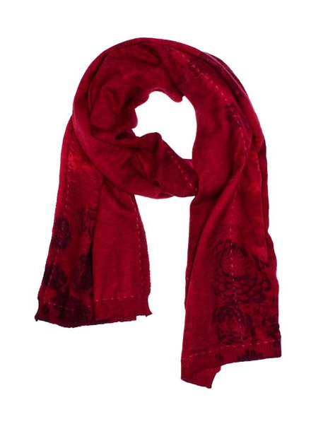 MA+CH Silk Backed Scarf Mari Wine