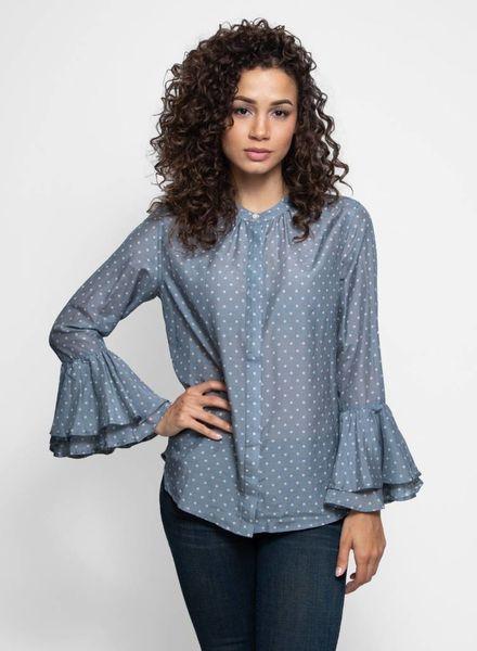 Trovata Victoria Bell Sleeve Blouse Slate Dot