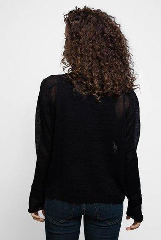 Inhabit Linen Windowpane Cardi Black
