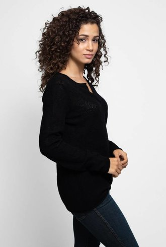 Inhabit Serafino Lace Pullover Black