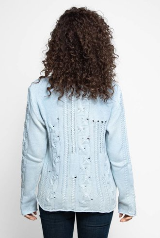 MA+CH Bulky Cotton Cable Lace Pullover Smoke Ombre