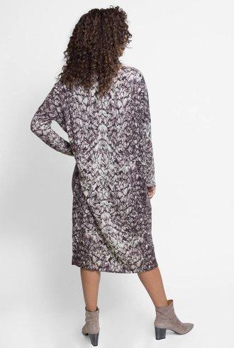 Burning Torch Eris Printed Cashmere Sweater Dress Storm