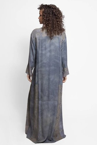 Burning Torch Dorado Embroidered Caftan Dress Fog