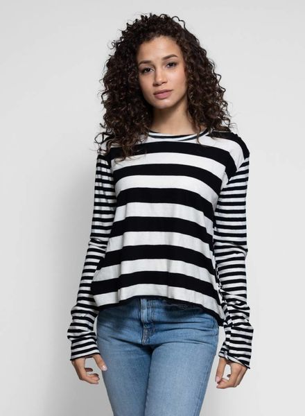 The Great The Long Sleeve Crop Tee Black Mixed Stripe