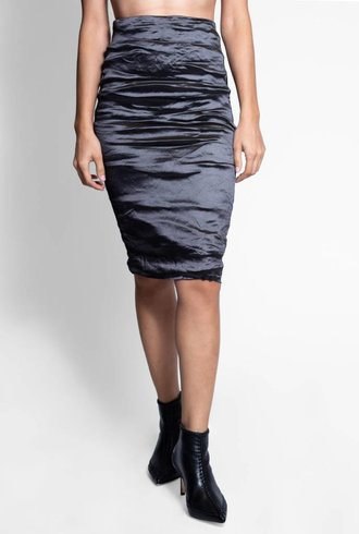 Nicole Miller Techno Metal Skirt Black