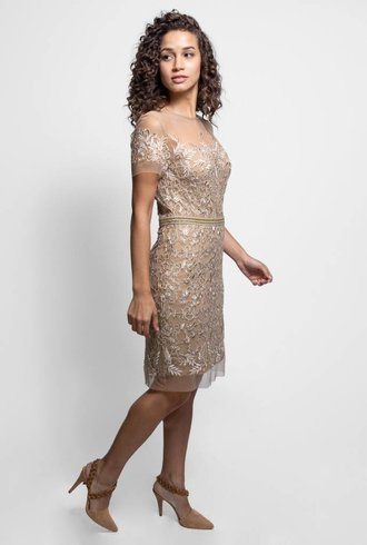 Nicole Miller Embroidered Illusion Dress Gold