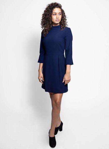 Nicole Miller Elbow Sleeve Mock Neck Dress Navy