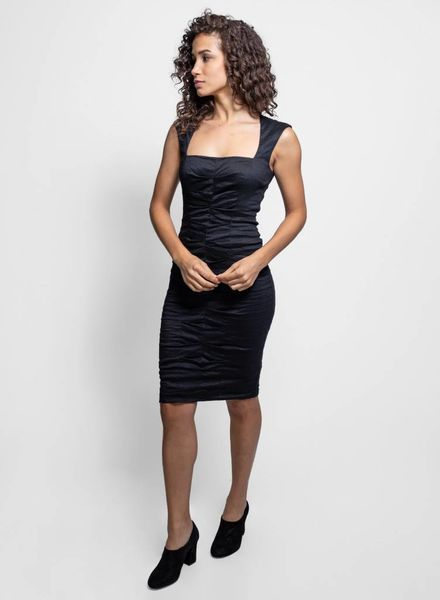 Nicole Miller Cotton Metal Square Neck Dress Black