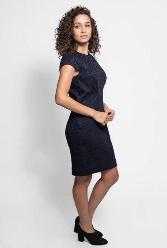 Nicole Miller Cap Sleeve Jacquard Dress Black & Navy