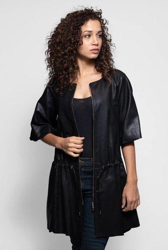 Liven Short Sleeve Tie Waist Leather Jacket