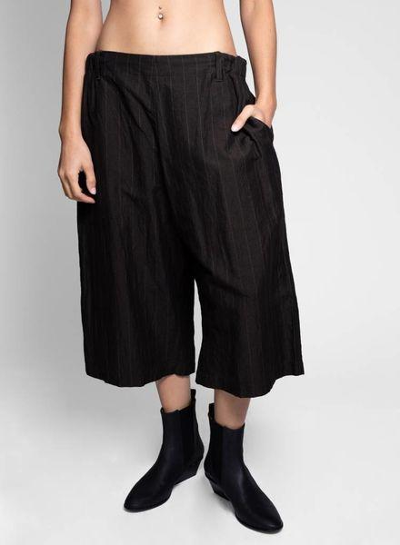 Vlas Blomme Linen/Cotton Wide Stripe Pants Dark Brown